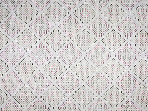 Large hand woven cotton panel with pink and grey nearly black motifs POA