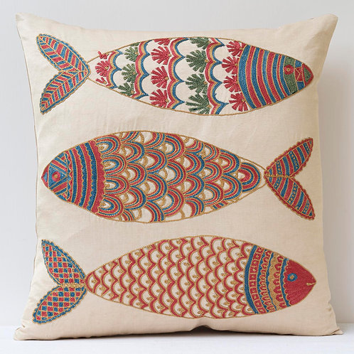 """(F15) Approx. 50cm/ 20"""" square cushion - silk hand embroidered fish m"""