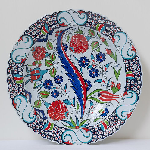 Large convex plate with Ottoman style fluted edges and motifs (1E)