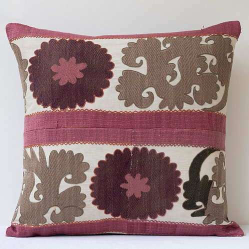 Rectangular 19th century silk embroidered suzani cushion
