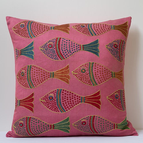 "(F) Approx. 50cm/ 20"" pink square cushion - silk hand embroidered fish m"
