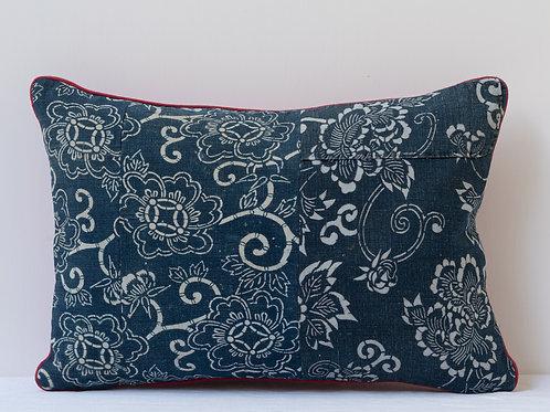 Rectangular red indigo antique textile cushion 1
