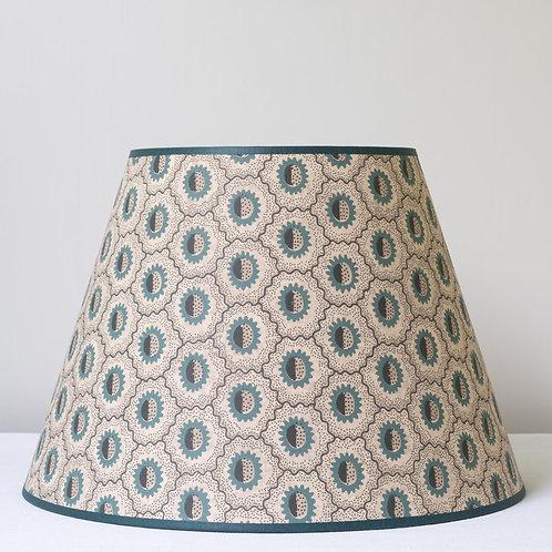 """14"""" (36cm) base Robert Kime """"Sunburst"""" in Green wallpaper lampshade"""