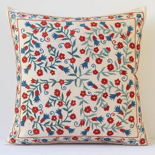 """J17 50cm/ 20"""" square cushion - silk hand embroidered Ottoman motif cushion"""