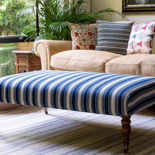 Ottoman in a lovely old Persian flatweave
