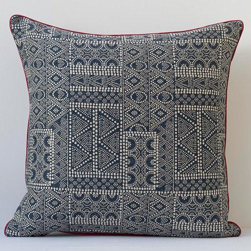 """50cm/ 20"""" square cushion in Susan Deliss Batik fabric in """"Indigo"""""""