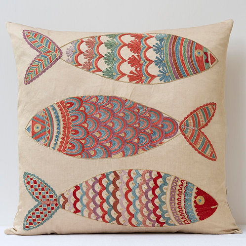 """(F29) Approx. 50cm/ 20"""" square cushion - silk hand embroidered fish"""