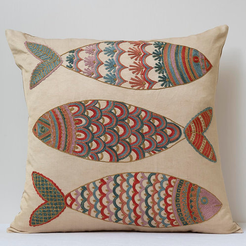 """(A10) Approx. 50cm/ 20"""" square cushion - silk hand embroidered fish m"""