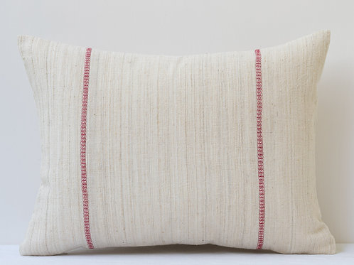 Rectangular antique linen cushion with pretty red embroidery