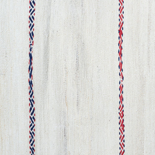 Hand woven natural wool kilim with hand embroidered wool stripes