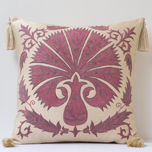 "Sumptuous silk hand embroidered 20""/50cm cushion"