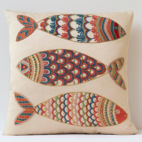 """(C4) Approx. 50cm/ 20"""" square cushion - silk hand embroidered fish"""