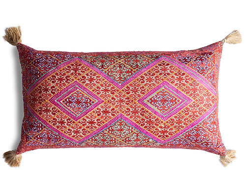 Extra large bolster cushion with antique silk embroidery 1