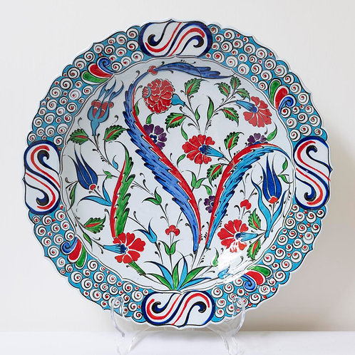 Large convex plate with Ottoman style fluted edges and motifs (1D)