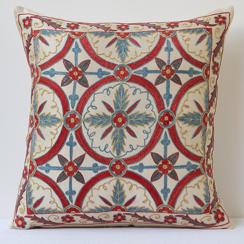 """50cm/ 20"""" square cushion - densely silk hand embroidered red blue lattice"""