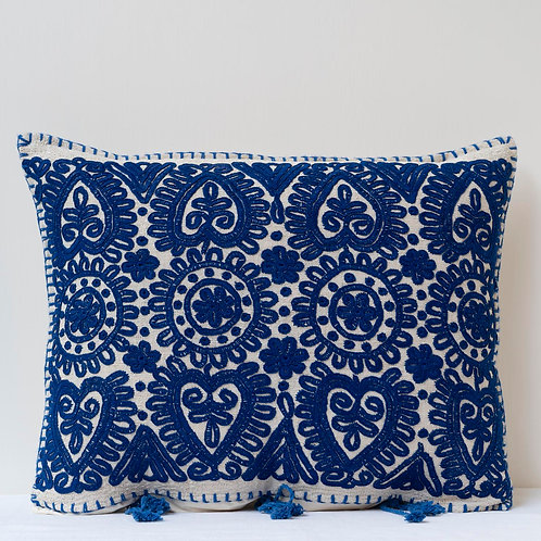 Vintage blue embroidered feather and vase and flower cushion