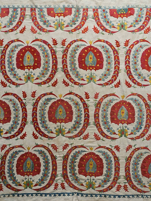 Small silk hand embroidered suzani