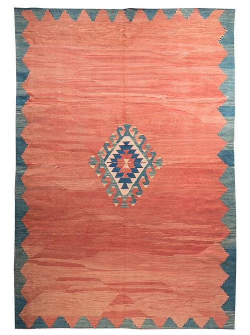 Rectangular indigo and terracotta  hand woven Anatolian wool kilim