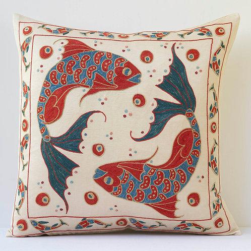 "K2 Approx. 50cm/ 20"" square cushion - silk hand embroidered Koi Carp motifs"