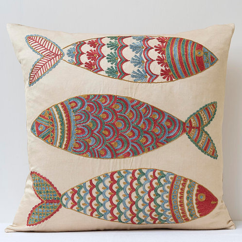 """(F17) Approx. 50cm/ 20"""" square cushion - silk hand embroidered fish m"""