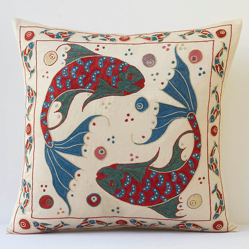 """K5 Approx. 50cm/ 20"""" square cushion - silk hand embroidered Ottoman motifs"""