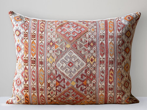 Large wool hand embroidered cushion with antique hemp reve