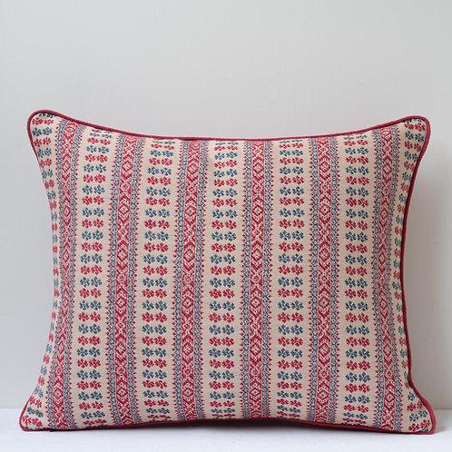 Rectangular cushion in Susan's Red/Indigo Patmos fabric with antique hemp