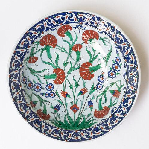 Large convex quartz ceramic plate with Iznik style  motifs (F)