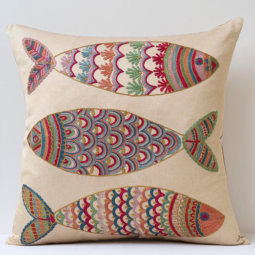 """(F31) Approx. 50cm/ 20"""" square cushion - silk hand embroidered fish m"""