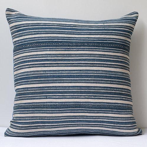 """18""""/ 45cm smart square antique Persian flatweave/ antique indigo linen cushion"""
