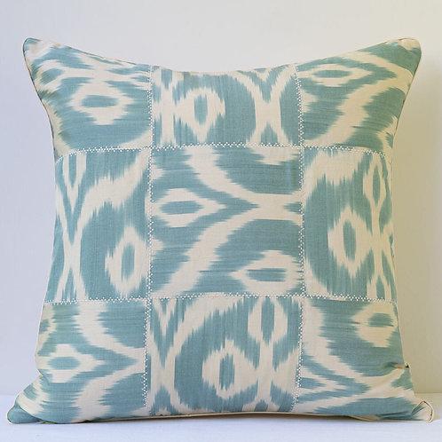 "19""/48cm square acqua cream patchwork ikat cushion with silk reverse"