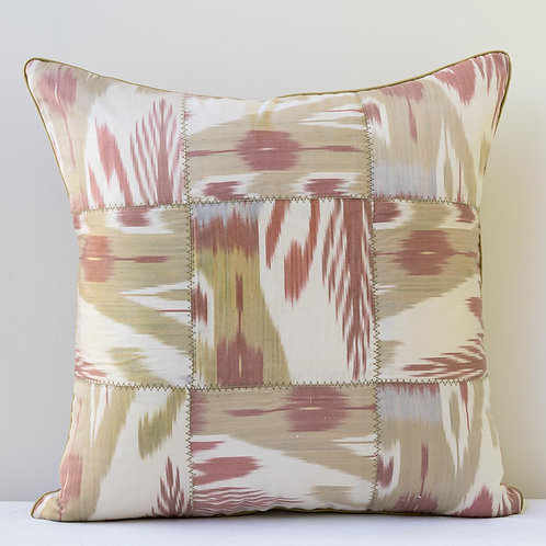 """19""""/48cm square patchwork pastel ikat cushion with silk reverse"""