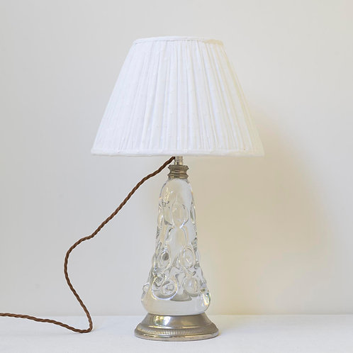 Single early 20th century French crystal and nickel lamp (excluding shade)