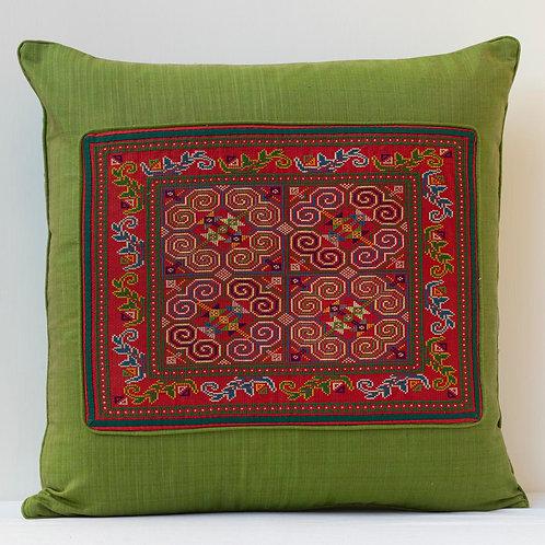 "50cm/ 20"" deep green hand woven silk/hand embroidery cushion 3"