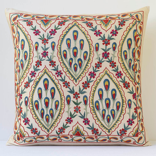 """J1 Approx 50cm/ 20"""" square cushion - silk hand embroidered Ottoman flower motifs"""