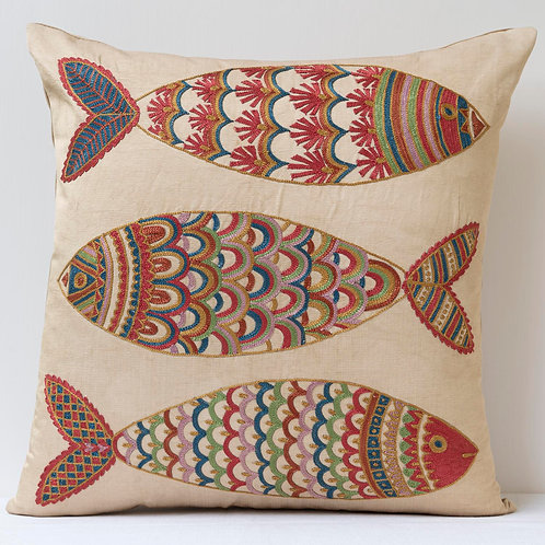 """(F18) Approx. 50cm/ 20"""" square cushion - silk hand embroidered fish m"""