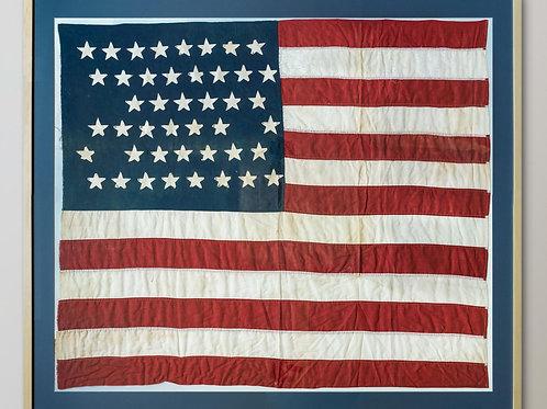 Antique large framed USA flag