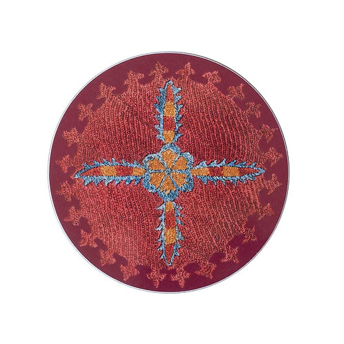 6 Star and sprig coasters in burgundy (price is for the set)