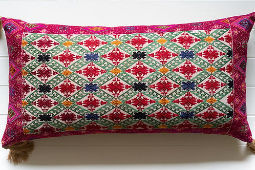 Large bolster cushion with antique silk embroidery