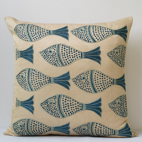 "Approx. 50cm/ 20"" square cushion - silk hand embroidered fish motifs 18"