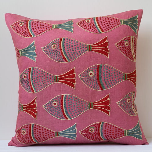 "(E) Approx. 50cm/ 20"" pink square cushion - silk hand embroidered fish"