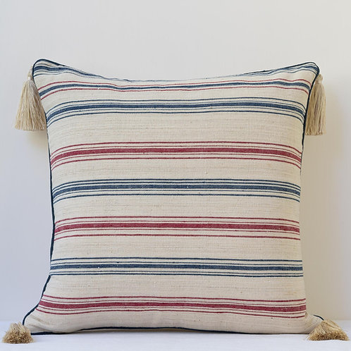 """20""""/50cm striped cushion with antique hand woven linen"""