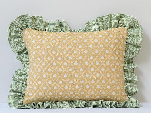 Rectangular cushion in Persian Yellow Grenadine and Apple Green Imani frill