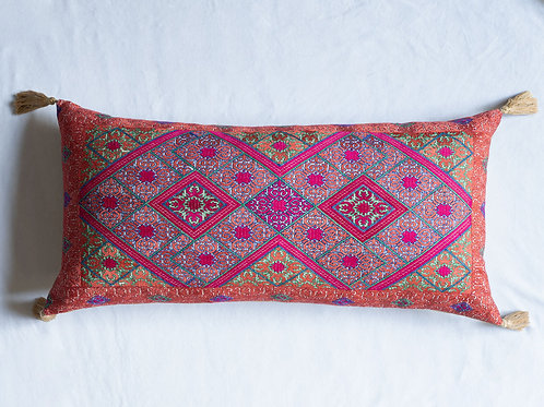Extra large bolster cushion with antique silk embroidery 2