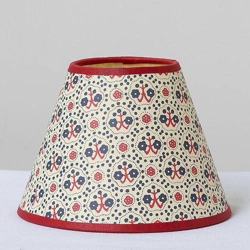 """6"""" (15cm) base small patterned card shade with red trim"""