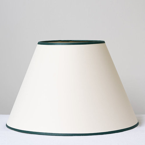 "12"" (30cm) base cream card shade with forest green trim"