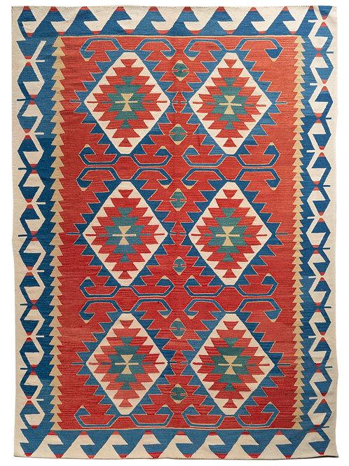 Rectangular brightly coloured hand woven Anatolian wool kilim