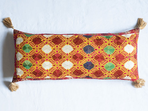 Extra large bolster cushion with antique silk embroidery 3