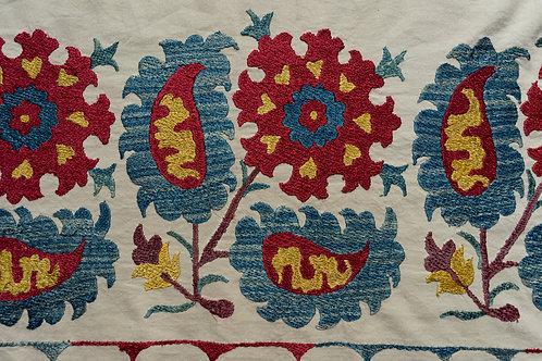 Silk embroidered suzani runner