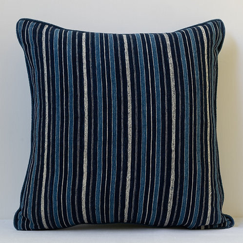 "18""/46cm smart square African  flatweave/ indigo linen cushion"